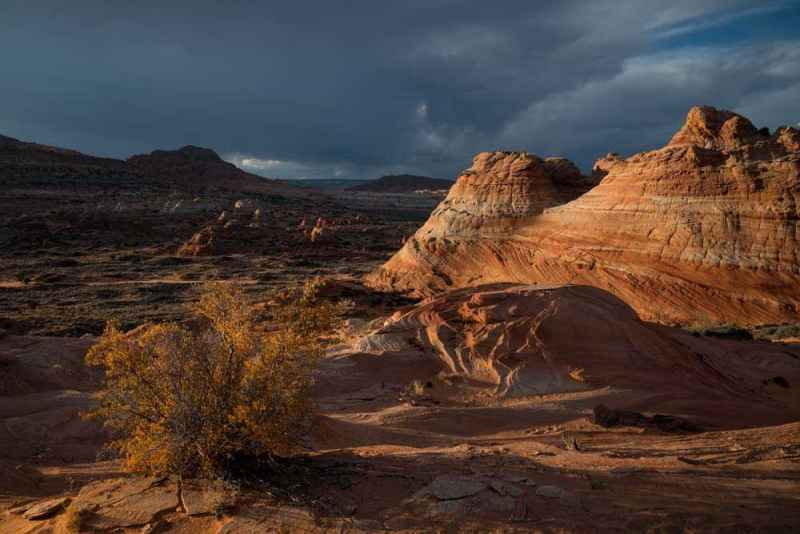 A receding storm over Cottonwood Cove in Coyote Buttes South