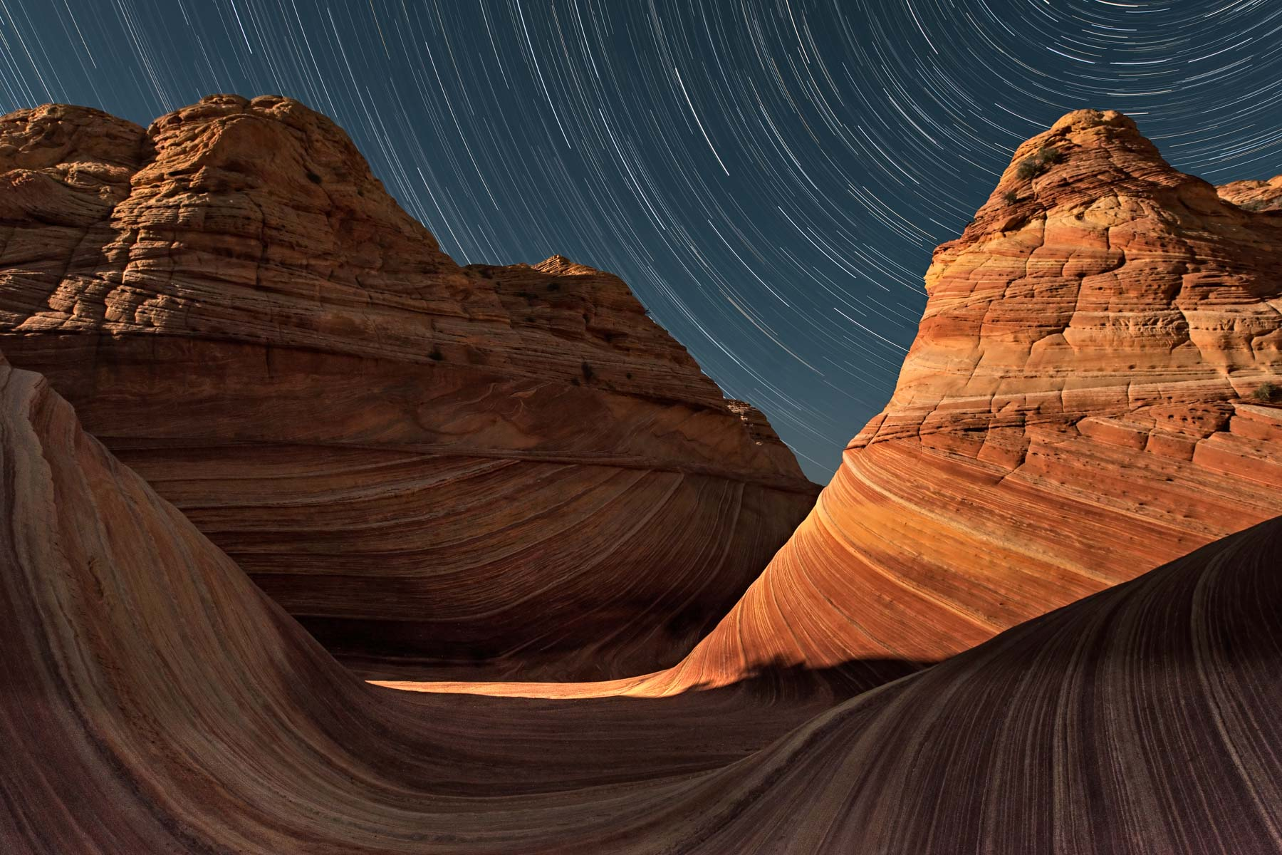 Star Trail over The Wave in Coyote Buttes North, Arizona
