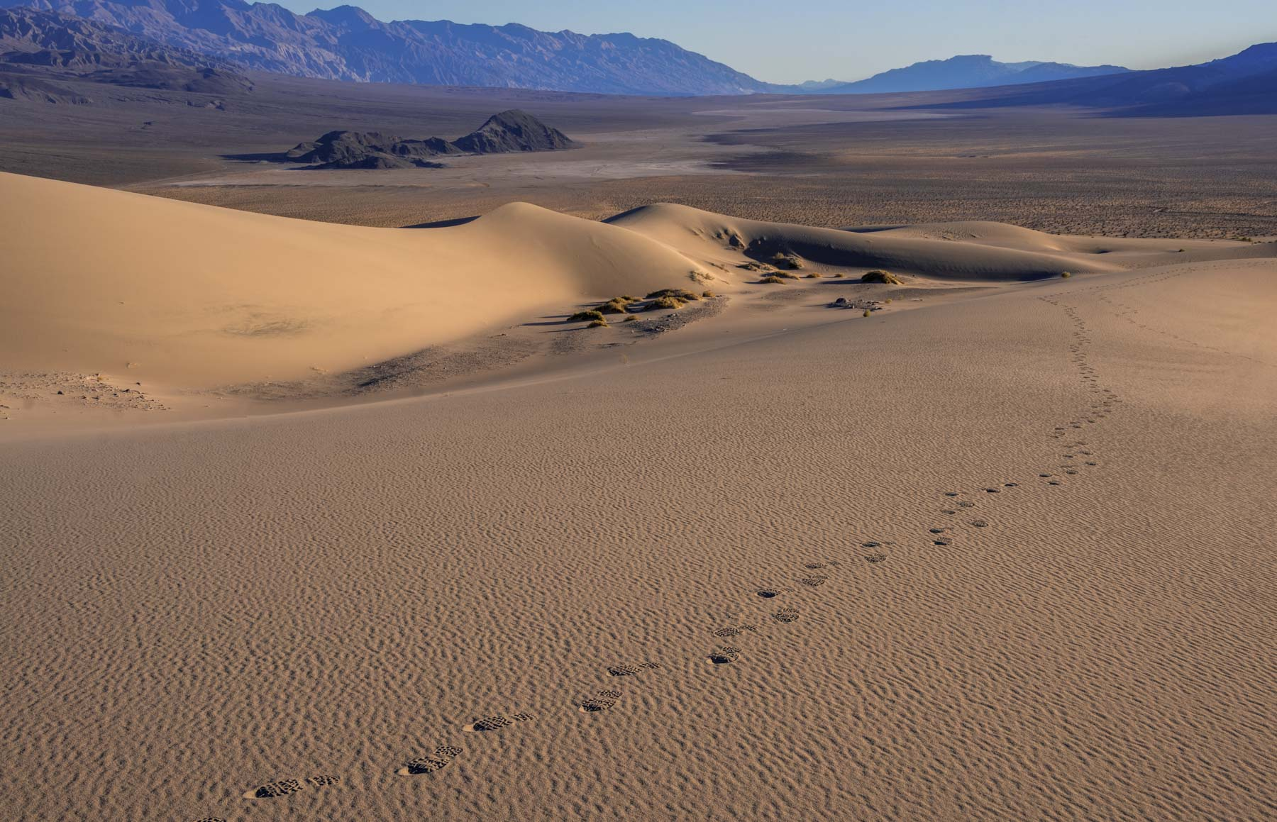 Footprints on the Panamint Dunes in Death Valley