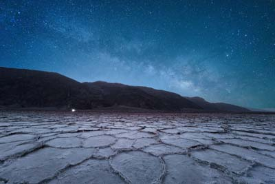 The Milky Way rising over the Badwater Salt Flats in Death Valley National Park, California