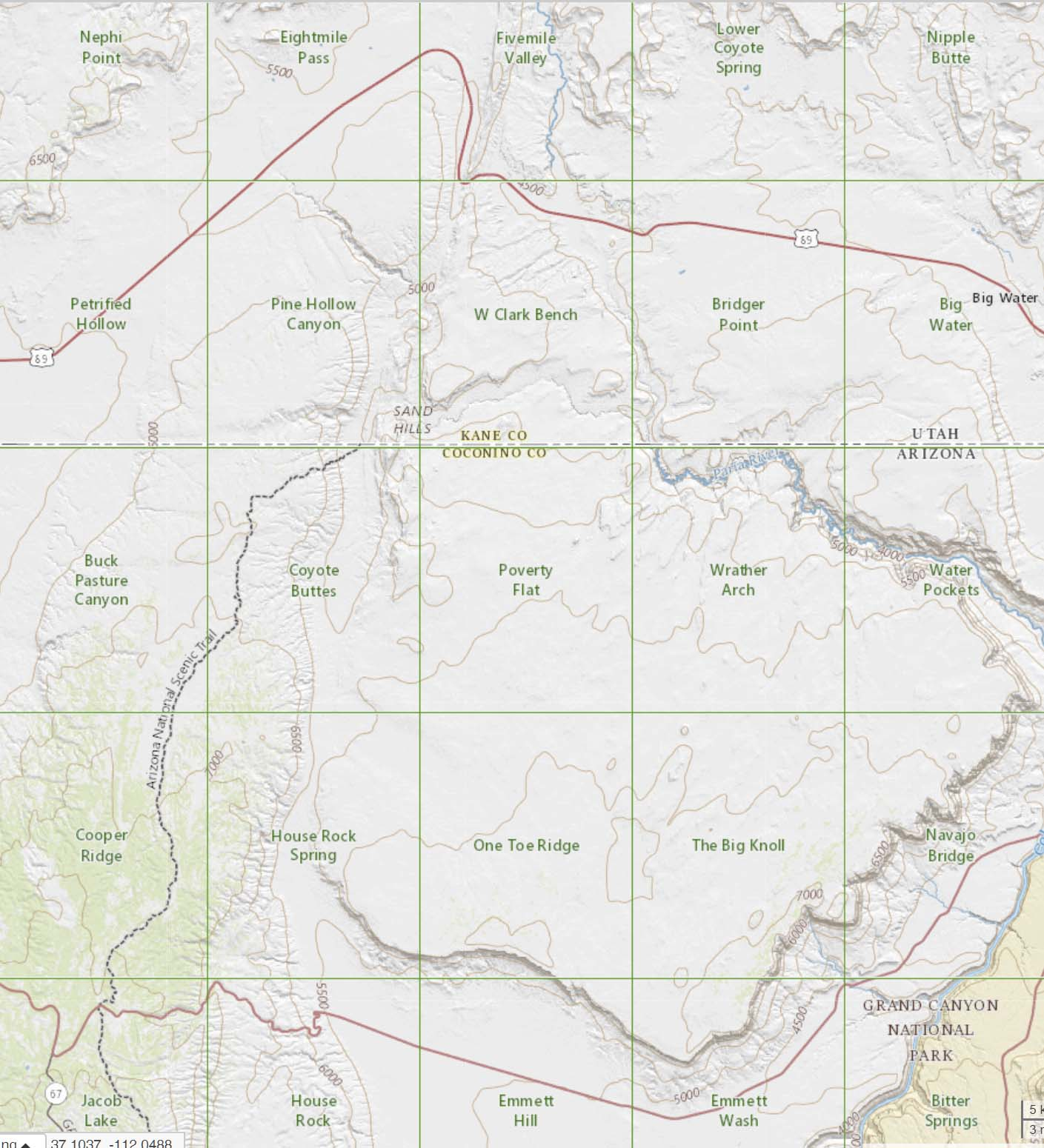 Topo maps covering Vermilion Cliffs National Monument