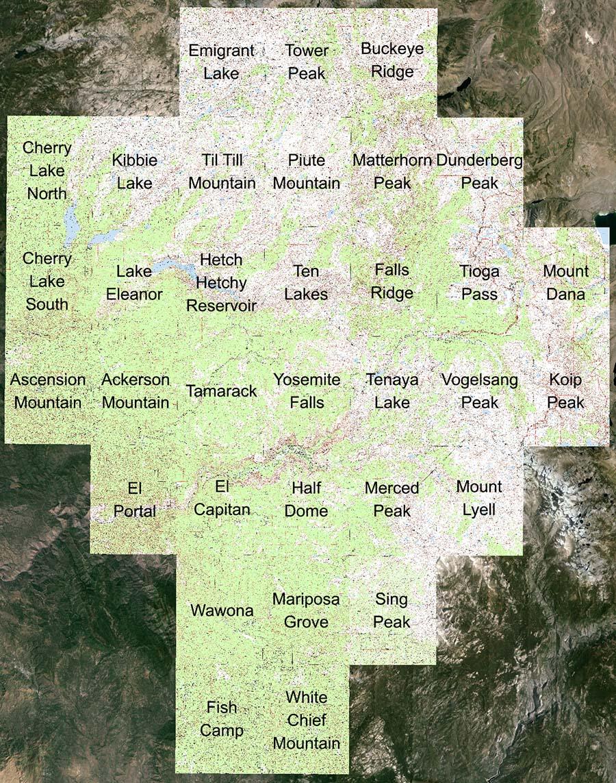 Yosemite National Park - Us topographic map kmz